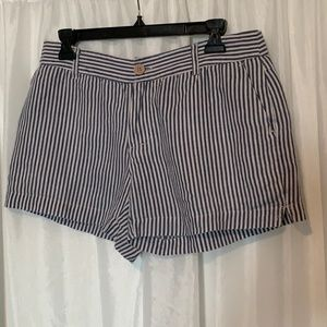 Cynthia Rowley Striped Blue and White Linen Shorts